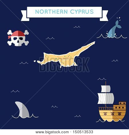 Flat Treasure Map Of Northern Cyprus. Colorful Cartoon With Icons Of Ship, Jolly Roger, Treasure Che