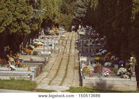 Graves tombstones and crucifixes on traditional Slovak cemetery. Votive candles lantern and flowers on tomb stones in graveyard. All Saints' Day. All Souls' Day. Gravestones alley in small town