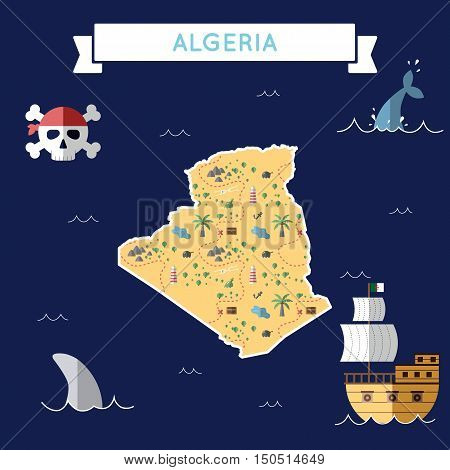 Flat Treasure Map Of Algeria. Colorful Cartoon With Icons Of Ship, Jolly Roger, Treasure Chest And B