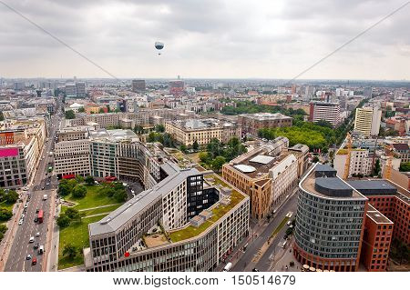 Birds eye view: cityscape of Berlin - view from above