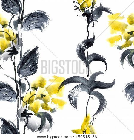 Watercolor and ink illustration of yellow flowers and leaves. Seamless pattern.