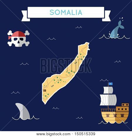 Flat Treasure Map Of Somalia. Colorful Cartoon With Icons Of Ship, Jolly Roger, Treasure Chest And B