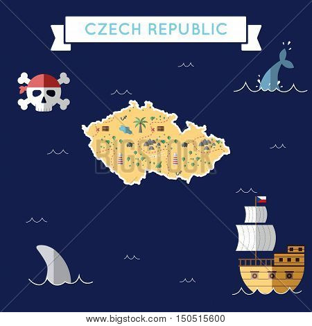 Flat Treasure Map Of Czech Republic. Colorful Cartoon With Icons Of Ship, Jolly Roger, Treasure Ches