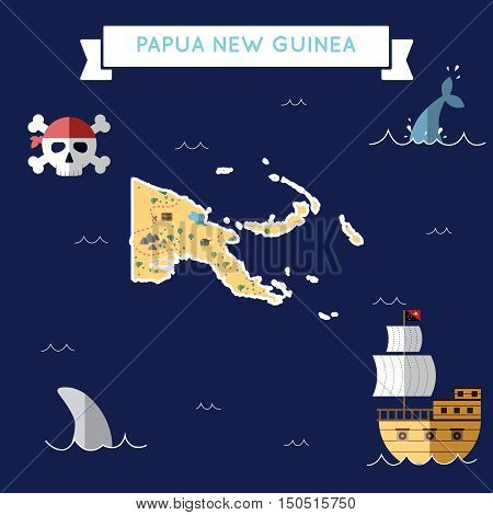 Flat Treasure Map Of Papua New Guinea. Colorful Cartoon With Icons Of Ship, Jolly Roger, Treasure Ch