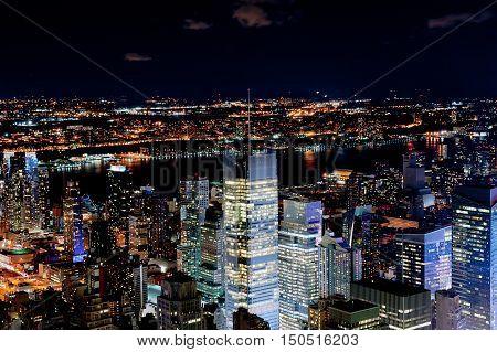 illuminated New York city by night - USA