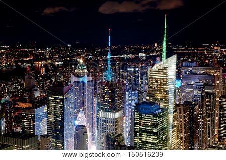 New York City by night - illuminated city