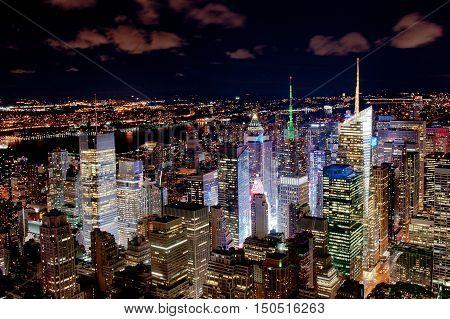 Illuminated New York city scyscrapers by night