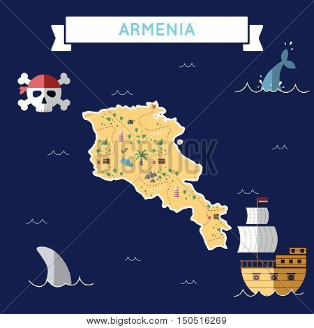 Flat Treasure Map Of Armenia. Colorful Cartoon With Icons Of Ship, Jolly Roger, Treasure Chest And B