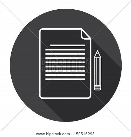 Paper Sheet Document Contract Sign Pen Web Icon Flat Vector Illustration