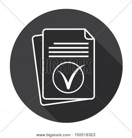 Paper Sheet Tick Document Contract Web Icon Flat Vector Illustration