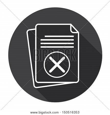 Paper Sheet Cross Document Contract Web Icon Flat Vector Illustration