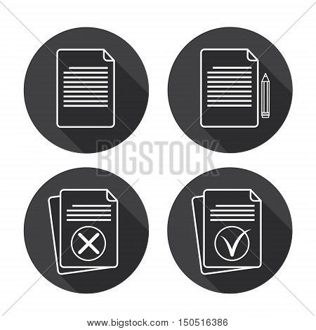 Paper Sheet Set Document Contract Web Icon Collection Flat Vector Illustration