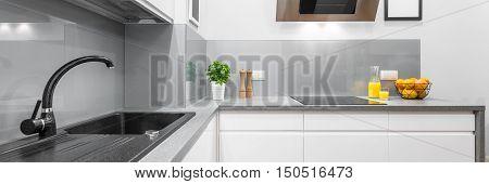 Stylish Kitchen Interior In White