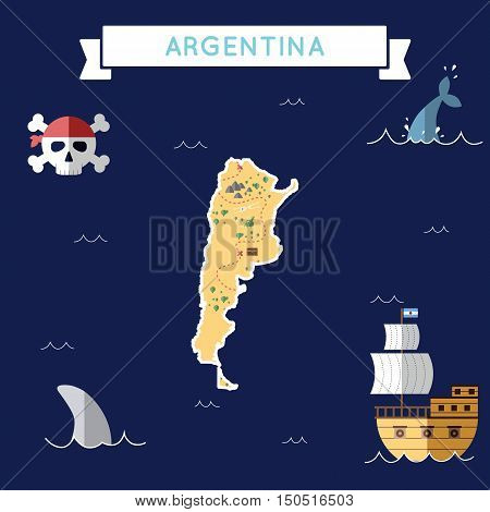 Flat Treasure Map Of Argentina. Colorful Cartoon With Icons Of Ship, Jolly Roger, Treasure Chest And
