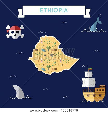 Flat Treasure Map Of Ethiopia. Colorful Cartoon With Icons Of Ship, Jolly Roger, Treasure Chest And