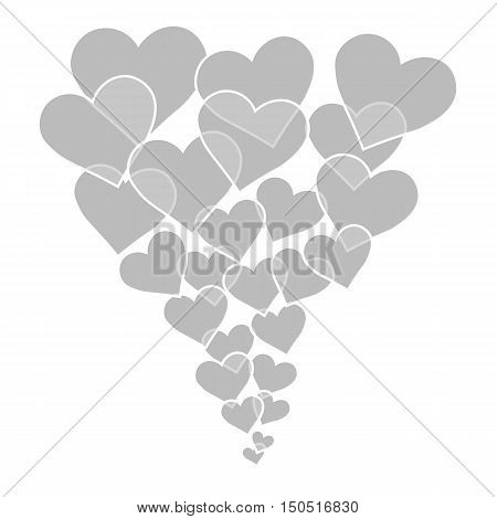 grey hearts of different sizes fly away
