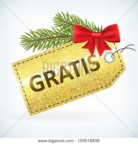 Christmas golden glitter gratis bussines sale vector delivery with bow and twig .Isolated from background. layered.