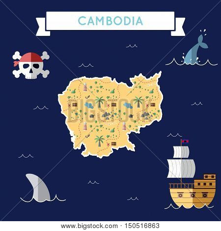Flat Treasure Map Of Cambodia. Colorful Cartoon With Icons Of Ship, Jolly Roger, Treasure Chest And