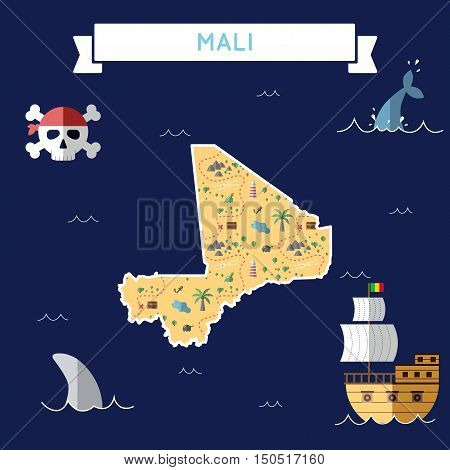 Flat Treasure Map Of Mali. Colorful Cartoon With Icons Of Ship, Jolly Roger, Treasure Chest And Bann