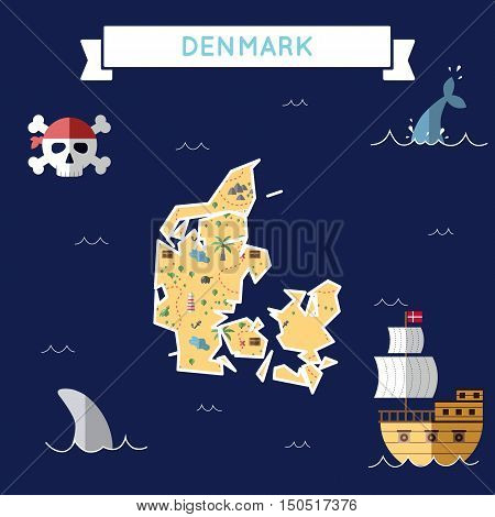 Flat Treasure Map Of Denmark. Colorful Cartoon With Icons Of Ship, Jolly Roger, Treasure Chest And B