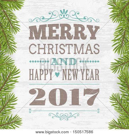 Merry Christmas and happy new year greeting card. Wood plank silver background with twig. vector illustration.