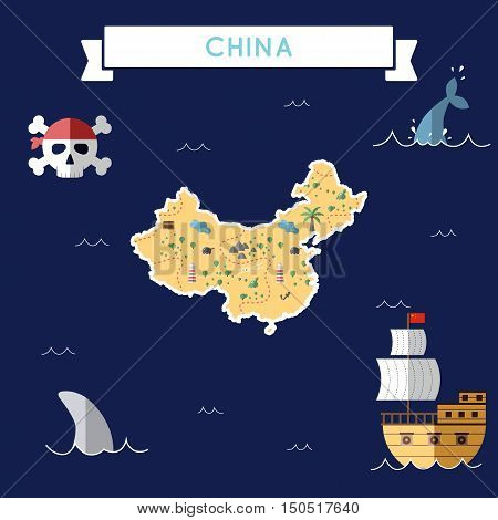 Flat Treasure Map Of China. Colorful Cartoon With Icons Of Ship, Jolly Roger, Treasure Chest And Ban
