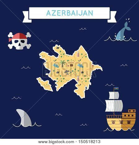 Flat Treasure Map Of Azerbaijan. Colorful Cartoon With Icons Of Ship, Jolly Roger, Treasure Chest An