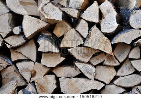 Pile Of Stacked Triangle Firewood Prepared For Fireplace And Boiler
