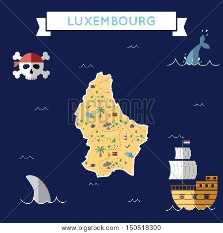Flat Treasure Map Of Luxembourg. Colorful Cartoon With Icons Of Ship, Jolly Roger, Treasure Chest An