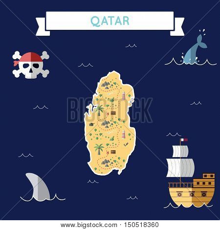 Flat Treasure Map Of Qatar. Colorful Cartoon With Icons Of Ship, Jolly Roger, Treasure Chest And Ban