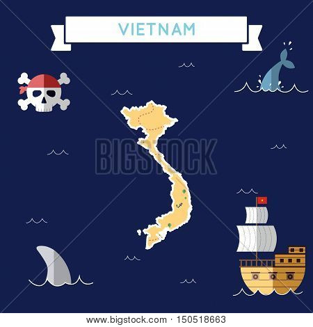 Flat Treasure Map Of Vietnam. Colorful Cartoon With Icons Of Ship, Jolly Roger, Treasure Chest And B