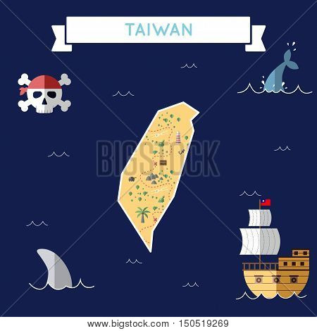 Flat Treasure Map Of Taiwan, Republic Of China. Colorful Cartoon With Icons Of Ship, Jolly Roger, Tr