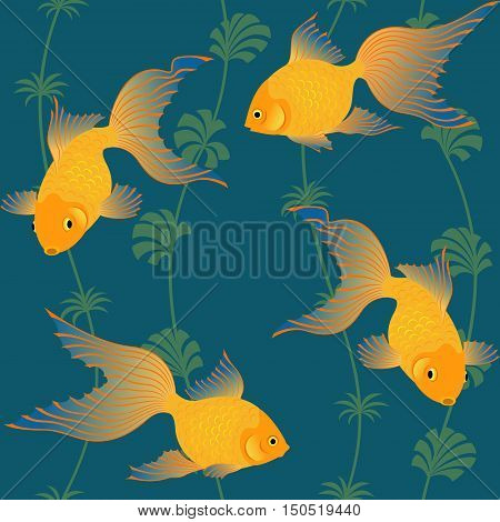 Seamless repeat pattern with gold fishes and seaweeds.