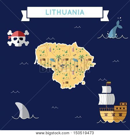 Flat Treasure Map Of Lithuania. Colorful Cartoon With Icons Of Ship, Jolly Roger, Treasure Chest And