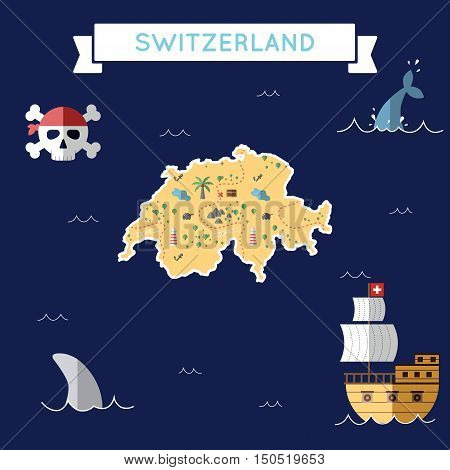 Flat Treasure Map Of Switzerland. Colorful Cartoon With Icons Of Ship, Jolly Roger, Treasure Chest A