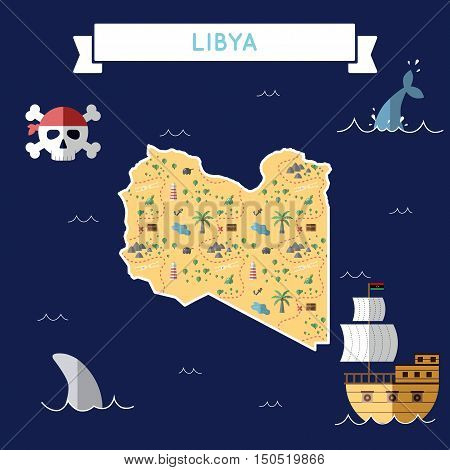 Flat Treasure Map Of Libya. Colorful Cartoon With Icons Of Ship, Jolly Roger, Treasure Chest And Ban