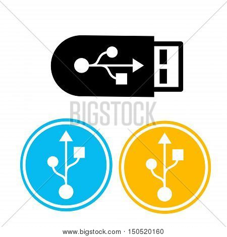 Flash Drive Colorful Icon Set Flat Vector Illustration