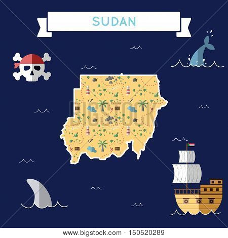 Flat Treasure Map Of Sudan. Colorful Cartoon With Icons Of Ship, Jolly Roger, Treasure Chest And Ban