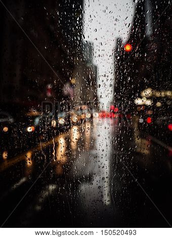 View Of New York City On Rainy Evening
