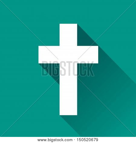 Illustration of religious cross icon design with shadow