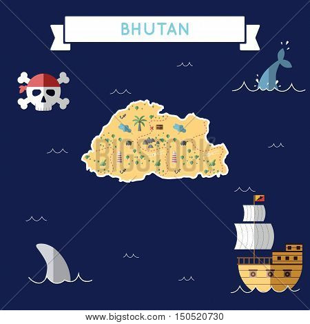 Flat Treasure Map Of Bhutan. Colorful Cartoon With Icons Of Ship, Jolly Roger, Treasure Chest And Ba