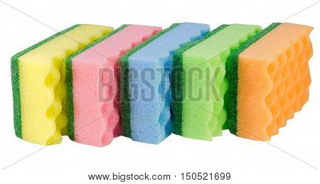 Image of colored sponges isolated on white background