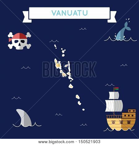 Flat Treasure Map Of Vanuatu. Colorful Cartoon With Icons Of Ship, Jolly Roger, Treasure Chest And B