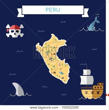 Flat Treasure Map Of Peru. Colorful Cartoon With Icons Of Ship, Jolly Roger, Treasure Chest And Bann