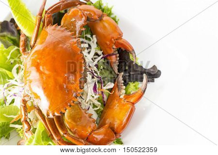 Singapore Chill Mud Crab with vegetables dinner in restaurant