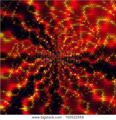 Abstract lighting swirling red, gold and black pattern of mosaic cubes. Abstract lighting shimmering red, gold and black pattern of mosaic cubes and hexagons
