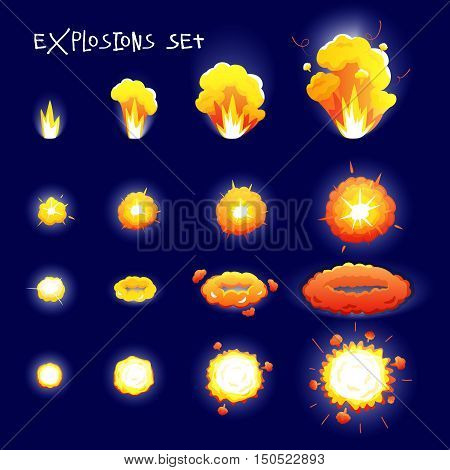 Cartoon set with explosion effects of different size and shape for flash animation isolated on dark blue background vector illustration
