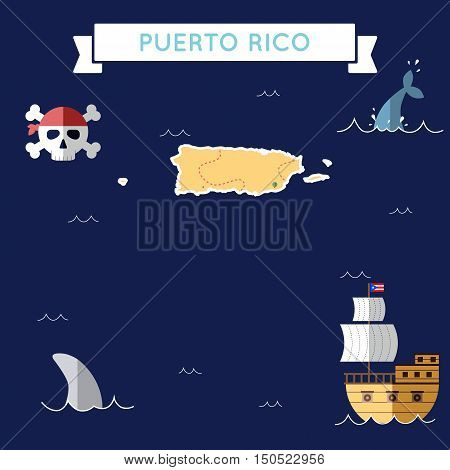 Flat Treasure Map Of Puerto Rico. Colorful Cartoon With Icons Of Ship, Jolly Roger, Treasure Chest A