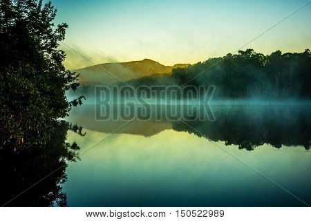 Grandfather Mountain Sunrise Reflections On Julian Price Lake In The Blue Ridge Mountains Of Western