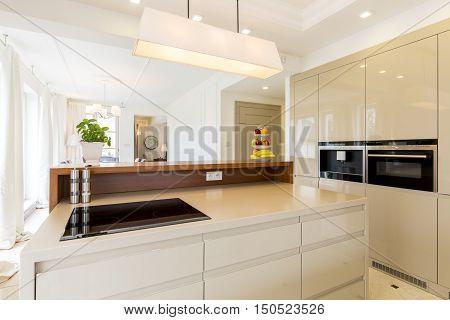 Spacious Beige Kitchen